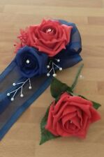 Wedding flowers wrist corsage red/navy rose & red rose button hole