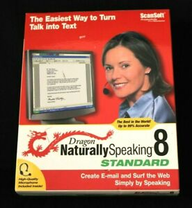 New Sealed Dragon Naturally Speaking 8 Standard ScanSoft Software - SU
