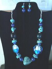 BEAUTIFUL SOUTHWEST STYLE TURQUOISE AND GLASS BEADED  NECKLACE AND EARRINGS