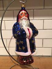 """Christopher Radko Starscape Santa 96-143-0 1996 7 1/2"""" Blue Robe Stars"""