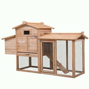 "59"" Chicken Coop Poultry Rabbit Hutch Hen House w/Nest Box, Outdoor Backyard"