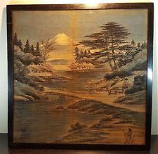 Grand oriental chinois japonais encadrée vitrée peinture sur jute de hesse 2