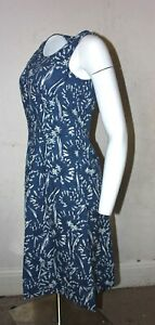 Seasalt Blue Scoop Neck Floral Cotton Sleeveless Knee length Tunic Dress 10-18