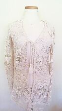Zara Ivory/cream Color Crochet Floral Pattern Long Sleeve Jacket Top S