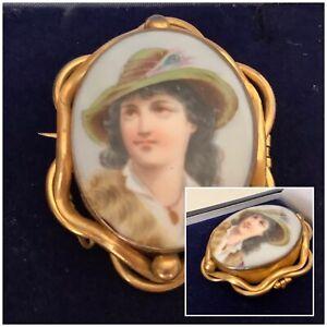Antique Jewellery Stunning Victorian Pinchbeck  Portrait Brooch Pin