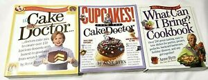 Lot of 3 Anne Byrn Cookbooks - Cupcakes, Cake Mix Doctor, What Can I Bring