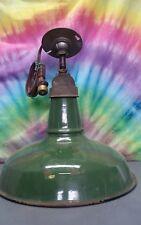 "VTG Benjamin Green Porcelain Enamel Barn Light Fixture 14"" REWIRED Industrial"