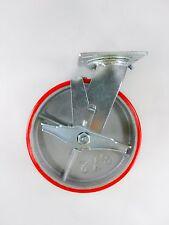 "8"" x 2"" Polyurethane On Cast Iron (Red) - Swivel with Brake"