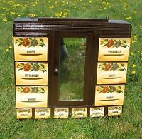 Antique Kitchen Spice Rack Cabinet Porcelain Wood Dutch Gorgeous Mirror