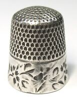 Antique Stern Bros Sterling Silver Thimble  Folk Art Butterflies Flowers  C1890s