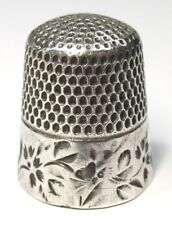 Antique Stern Brothers Co. Sterling Silver Thimble Folk Art Bumble Bees Flowers