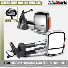 2Pcs Chrome Extendable Towing Mirrors for Nissan Navara D40 with Indicator