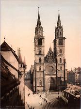 Deutschland, Nürnberg. Die Lorenzkirche.  vintage print photochromie, vintage