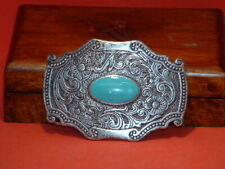 Pre-Owned Blue Stone Paisley Design Belt Buckle