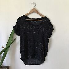 Swildens France Women's 100% Silk Black Patterned Short Sleeve Top Size S
