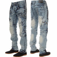 New Mens Jeans ETO Designer Light Wash Straight Fit Trousers All Sizes 28 TO 42