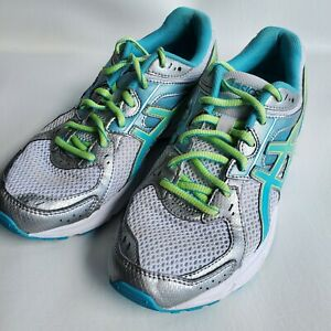 Womens ASICS Gel Contend 2 white blue green Athletic Running Shoes Size 9.5