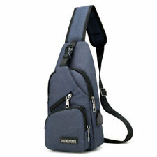 Fashion Men Canvas Messenger Shoulder Bag Crossbody Sling Chest Pack+USB Port