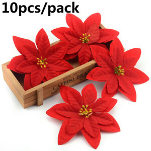 Party Supplies Glitter Ornament Poinsettia  Christmas Tree Flowers Xmas Gift