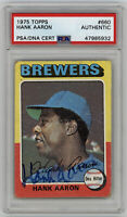 1975 BREWERS Hank Aaron signed card Topps #660 PSA/DNA AUTO Autographed