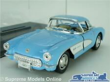 CHEVROLET CORVETTE MODEL CAR 1957 1:34 SCALE BLUE + DISPLAY CASE KINSMART C1 K8