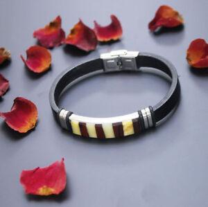 Baltic amber bracelet multicolor elegant black Leather Exclusive