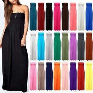 Ladies Strapless Sheering Beach Dress Long Boobtube Bandeau Maxi Summer Dresses