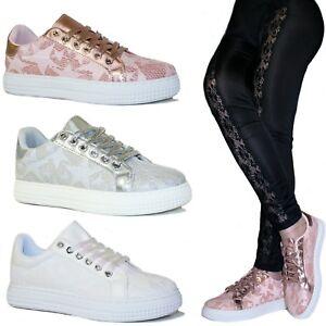Scarpe donna Sneakers Pizzo Stelle Ginnastica Glitter Passeggio Stringate B79