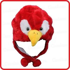 RED PARROT BUDGIE BIRD ANIMAL CARTOON PLUSH FLUFFY HOODED HAT CAP BEANIE EARMUFF
