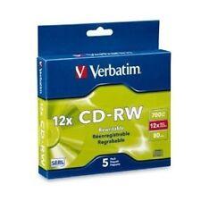 Verbatim CD-RW 700MB/80min/4X-12X - 5 Pack Slim Case