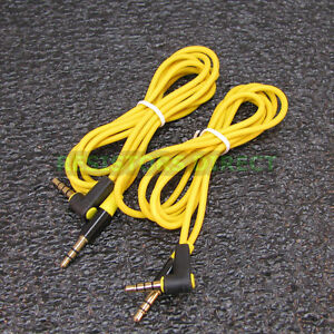 2x Yellow High Quality Gold Plated 3.5mm Auxillary Cable Right Angle Audio S42