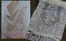 Stunning V. Long Victorian Handmade Antique Lace Scarf Shawl Wedding Trim Silk
