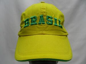 BRASIL - YELLOW - EMBROIDERED - ADJUSTABLE STRAPBACK BALL CAP HAT!