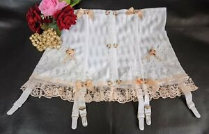 Vintage Sissy Frilly Lace Suspender Girdle 6 Metal Garters White-Peach Size 28