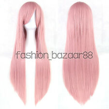 Fashion Girls Synthetic Anime Wig Cosplay Party Straight Full Wig 32inch Pink