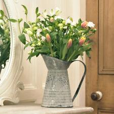 Grey metal vintage style decorative jug vase flowers shabby vintage chic rustic