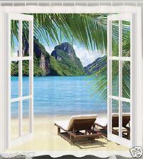 Island Beach Fabric SHOWER CURTAIN Mountain Window View Rainforest Bath Decor
