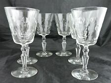 VINTAGE WATER/WINE GLASS SET 6 POLKA DOT/THUMBPRINT PATTERN STEMWARE