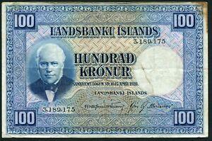 Iceland 100 kronur 1928 Jon Sigurdsson P35a(4) Sign Jonsson & Mariasson F+ Stain