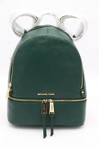 NWT MICHAEL Michael Kors Rhea Zip Green Leather Backpack Bag New $298