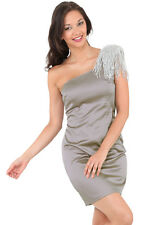 New-Silver Grey Satin Party Dress-Silver Beads-One Shoulder-Cocktails/Club-14