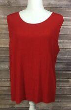 Chicos Design Womens Crew Neck Slinky Textured Shirt 3 XL 16 Red Stretch V27