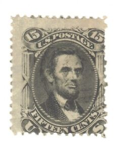Scott 77 Early US Stamp 15c Lincoln ...1861-62.  Very Light  Cancel