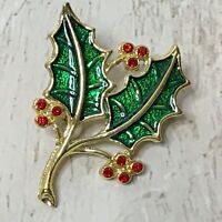 Beatrix Signed Christmas Holly Berry Brandch Gold Tone Enamel Pin Brooch