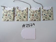 Set of 4 #2579 Cream with Bicycles, Cameras & Backpack Unique Handmade Gift Tags