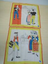 2 Vintage Swiss Handkerchiefs - Appenzell Theme - Mint