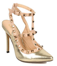 New Beige Gold Metalic Studs Ankle T Strap Stiletto High Heel sandal shoe Sz 5.5