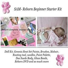 SAM Complete  REBORN Starter Beginner Kit, Genesis paints, Mohair, Doll KIT pLUS