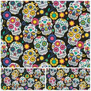 SKULL PIRATE Polycotton Fabric Craft HALLOWEEN Flower MT Material Special Offer