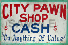 WEATHERED CITY PAWN SHOP METAL BUILDING DIORAMA LAYOUT SIGN 3x2